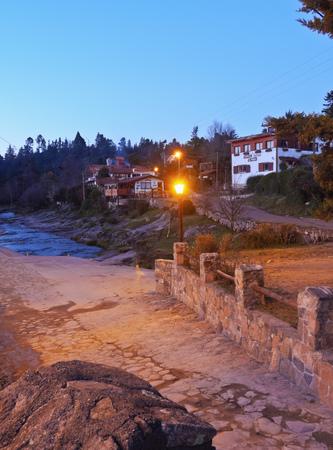 sierras: Argentina, Cordoba Province, Calamuchita Valley, Twilight view of La Cumbrecita. Stock Photo