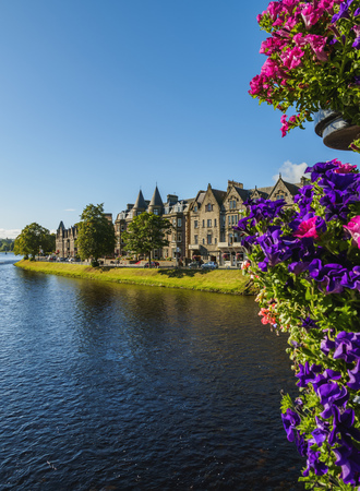 ness river: UK, Scotland, View of Inverness and River Ness.