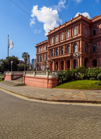 Argentina, Buenos Aires Province, City of Buenos Aires, Monserrat, View of the Casa Rosada on Plaza de Mayo.