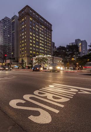 Brazil, State of Sao Paulo, City of Sao Paulo, Twilight view of the Paulista Avenue.