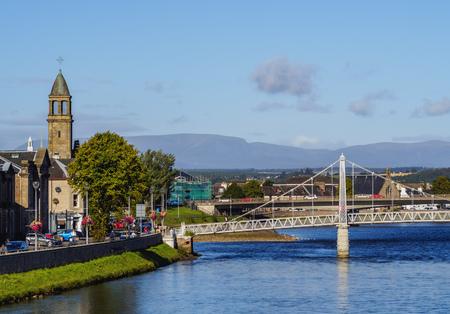 ness river: UK, Scotland, Inverness, View of the Greig St Bridge.