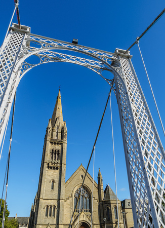 ness river: UK, Scotland, Inverness, View of the Greig St Bridge and the Free North Church.