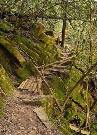sierras: Argentina, Cordoba Province, Calamuchita Valley, Trail in La Cumbrecita.