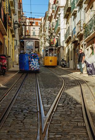 bica: Portugal, Lisbon - November 6, 2016: View of the Bica Funicular.