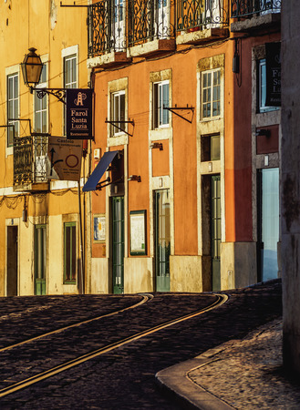 electrico: Portugal, Lisbon - November 6, 2016: View of Alfama Neighbourhood. Editorial