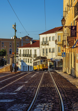 electrico: Portugal, Lisbon - November 6, 2016: Typical tram in Alfama. Editorial