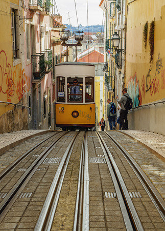 Portugal, Lisbon - November 6, 2016: View of the Bica Funicular.