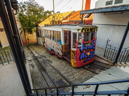 Portugal, Lisbon - November 7, 2016: View of the Lavra Funicular. Editorial