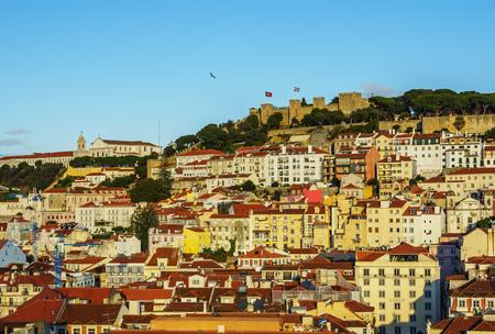Portugal, Lisbon, Miradouro de Santa Justa, View towards the Sao Jorge Castle.