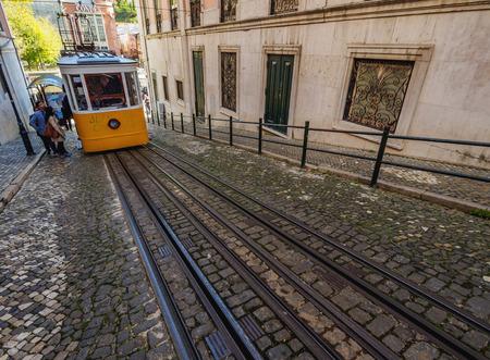 gloria: Portugal, Lisbon - November 7, 2016: View of the Gloria Funicular. Editorial