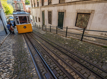 Portugal, Lisbon - November 7, 2016: View of the Gloria Funicular. Editorial