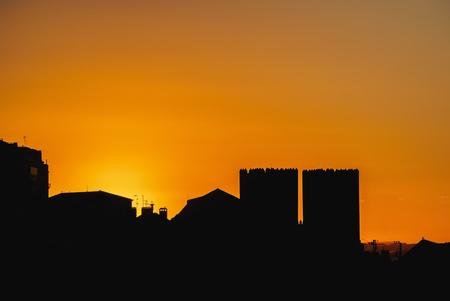 Portugal, Lisbon, Miradouro de Santa Justa, View towards the Cathedral Se at sunrise.