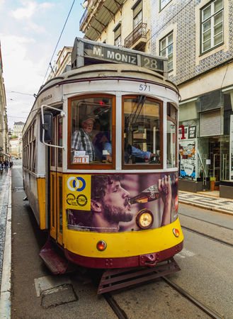 electrico: Portugal, Lisbon - November 6, 2016: Tram number 28.