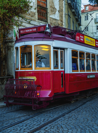 electrico: Portugal, Lisbon - November 5, 2016: Traditional tram in Alfama.