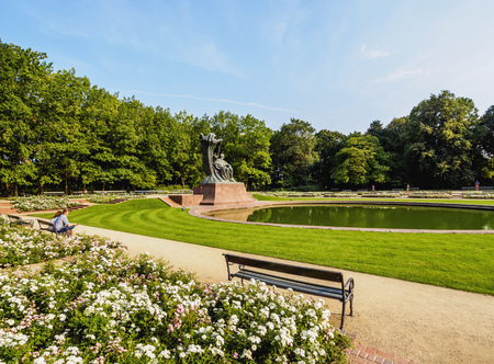 Poland, Masovian Voivodeship, Warsaw, Royal Baths Park, Chopin Statue