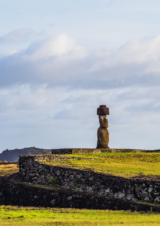 Moai in Ahu Ko Te Riku, Tahai Archaeological Complex, Rapa Nui National Park, Easter Island, Chile Stock Photo