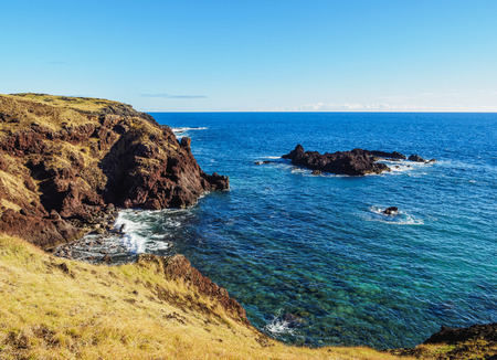 Landscape of the north coast nearby Anakena, Easter Island, Chile Stock Photo