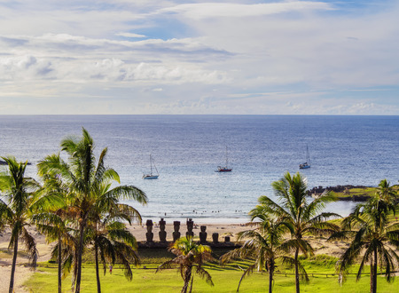 Moais in Ahu Nau Nau by the Anakena Beach, elevated view, Rapa Nui National Park, Easter Island, Chile Stock Photo
