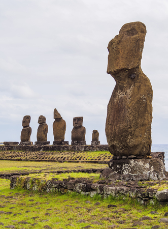 Moais in Tahai Archaeological Complex, Rapa Nui National Park, Easter Island, Chile Stock Photo