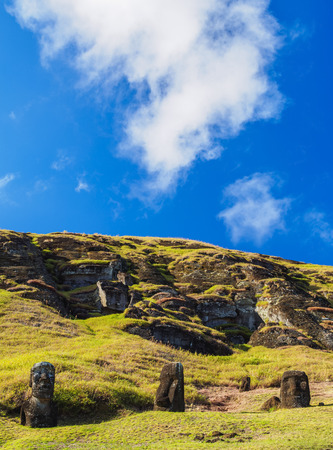 Moais at the quarry on the slope of the Rano Raraku Volcano, Rapa Nui National Park, Easter Island, Chile