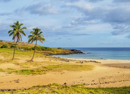 rapanui: Playa de Anakena, Isla de Pascua, Chile