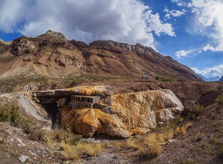 The Inca Bridge, Puente del Inca, Central Andes, Mendoza Province, Argentina Stock Photo