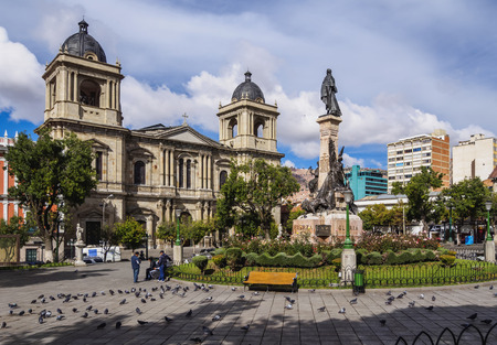 Plaza Murillo with Cathedral Basilica of Our Lady of Peace, La Paz, Bolivia Редакционное