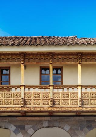 Colonial House with Balcony, Main Square, Cusco, Peru