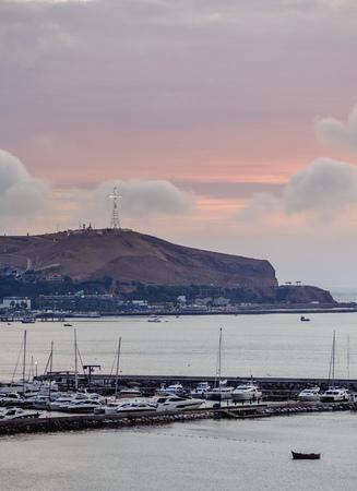 Marina Club at sunset, Barranco District, Lima, Peru Editorial