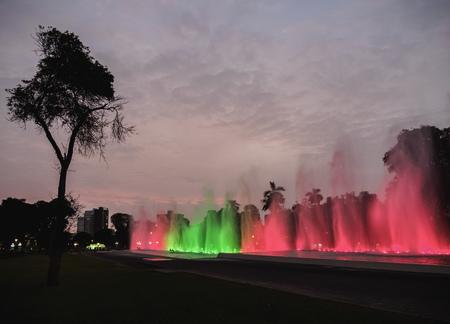 Magic Water Circuit in La Reserva Park, Lima, Peru Stock Photo