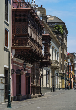 Colonial Houses with Balconies, Old Town, Lima, Peru