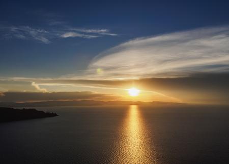 Titicaca Lake seen from the Mount Calvario in Copacabana, sunset, La Paz Department, Bolivia