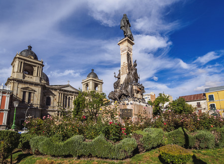 Plaza Murillo with Cathedral Basilica of Our Lady of Peace, La Paz, Bolivia Banque d'images