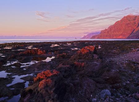 Coast and Anaga Mountains at sunset, Punta del Hidalgo, Tenerife Island, Canary Islands, Spain