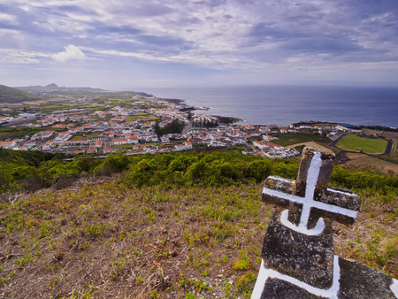 View towards Santa Cruz from Monte de Nossa Senhora da Ajuda, Graciosa Island, Azores, Portugal 스톡 콘텐츠