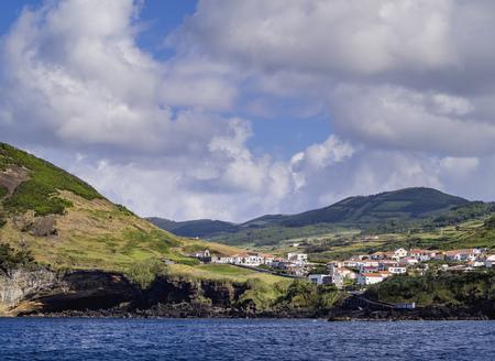 Velas seen from the ocean, Sao Jorge Island, Azores, Portugal Stock Photo