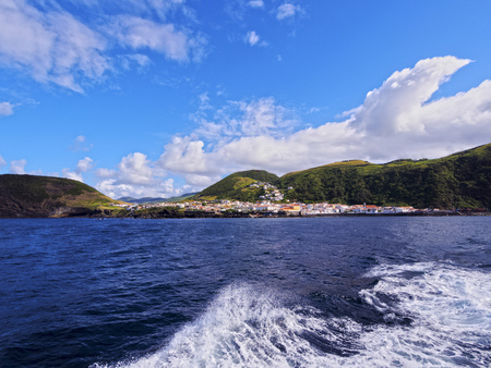 Velas seen from the ocean, Sao Jorge Island, Azores, Portugal Stock Photo