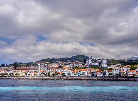 Horta Skyline, Faial Island, Azores, Portugal Stock Photo