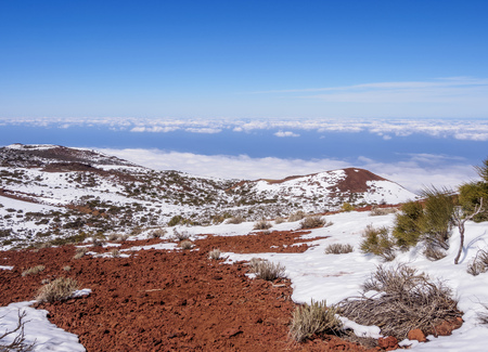 Teide National Park covered with snow, Tenerife Island, Canary Islands, Spain