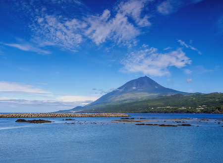 View towards the Pico Mountain, Lajes do Pico, Pico Island, Azores, Portugal
