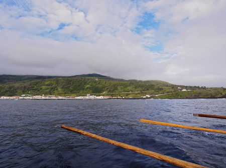 Lajes do Pico seen from the ocean, Pico Island, Azores, Portugal Stock Photo