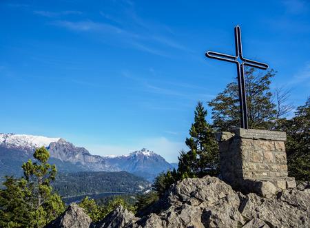 Cross at Cerro Campanario, Nahuel Huapi National Park, Rio Negro Province, Argentina Reklamní fotografie