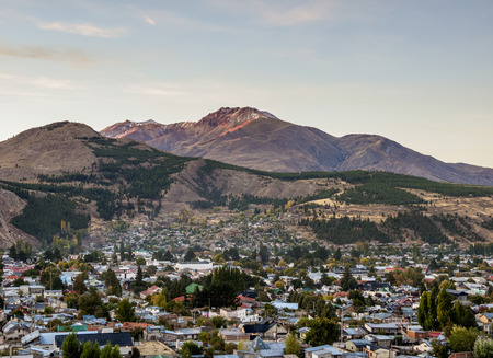 Esquel at sunrise, elevated view, Chubut Province, Patagonia, Argentina 스톡 콘텐츠