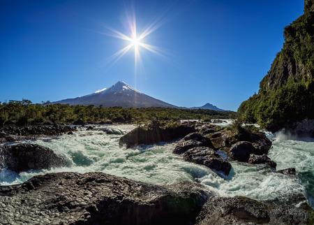Petrohue Waterfalls and Osorno Volcano, Petrohue, Llanquihue Province, Los Lagos Region, Chile Stock Photo