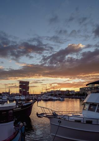 Bonapartedok at sunset, Antwerp, Belgium