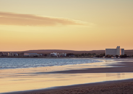 Beach in Puerto Madryn at sunrise, The Welsh Settlement, Chubut Province, Patagonia, Argentina