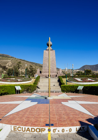 Monument to the Equator, Ciudad Mitad del Mundo, Middle of the World City, Pichincha Province, Ecuador 版權商用圖片 - 118961323
