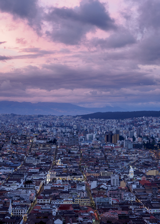 Old Town elevated view from El Panecillo, dusk, Quito, Pichincha Province, Ecuador