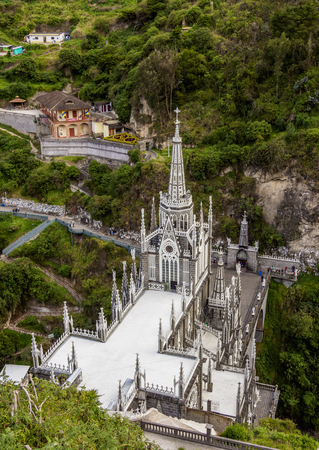 Las Lajas Sanctuary, elevated view, Narino Departmant, Colombia