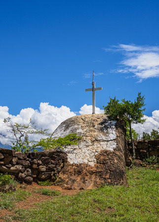 Cross by the Camino Real, Royal Road from Barichara to Guane, Santander Department, Colombia